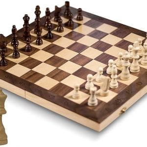 """GrowUpSmart Smart Tactics 16"""" Folding Chess Set with Extra Queens Made by FSC Certified Wood - Standard Edition"""